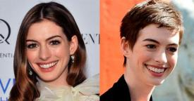 Anne Hathaway cabelo curto antes e depois