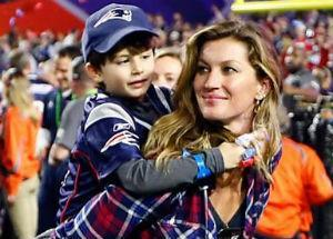 Gisele Bundchen e filhos no Super Bowl 49