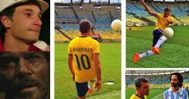 Antonio Banderas e Rodrigo Santoro Maracanã uniforme Brasil e Malaga Los 33 (Foto: Reprodução Instagram/ Divulgação)