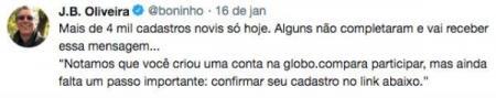 Boninho post Twitter BBB 19